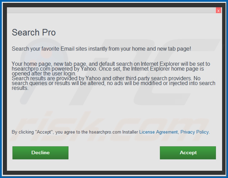 Official Search Pro browser hijacker installation setup