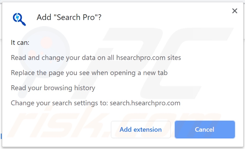 Search Pro browser hijacker asking for permissions