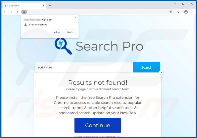 Website used to promote Search Pro browser hijacker
