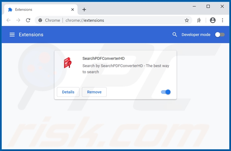 Removing searchpdfconverterhd.com related Google Chrome extensions