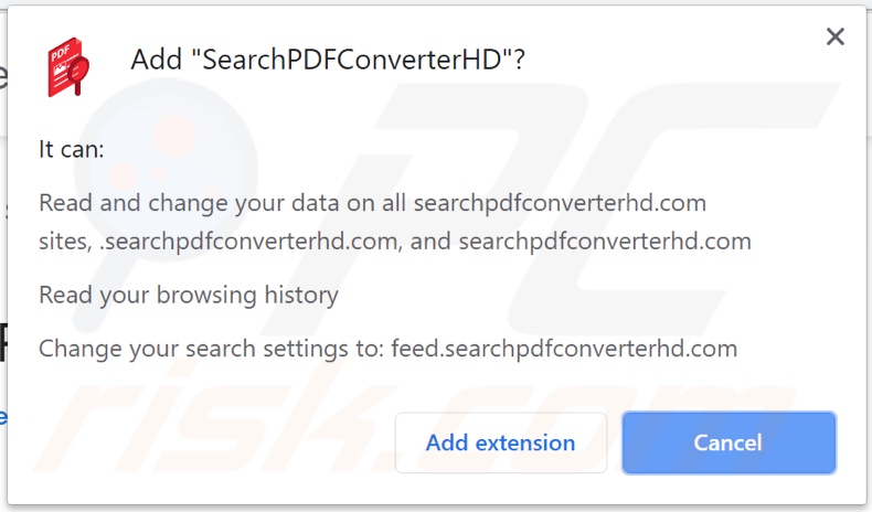 SearchPDFConverterHD browser hijacker asking for permissions