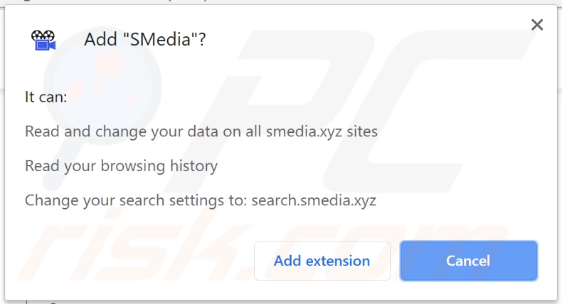 SMedia browser hijacker asking for permissions
