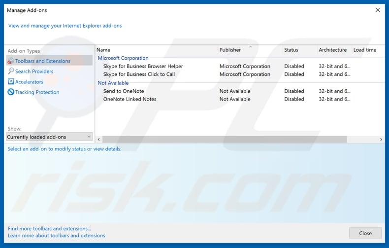 Removing stormsearch.net related Internet Explorer extensions