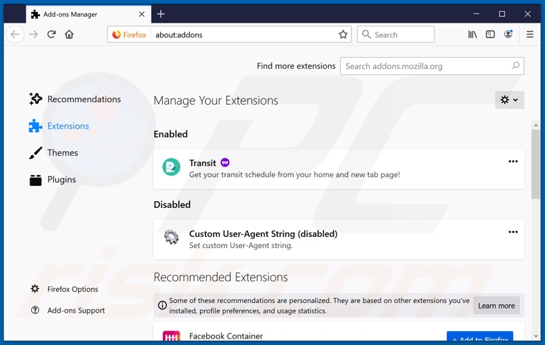 Removing streaminsearchs.com related Mozilla Firefox extensions