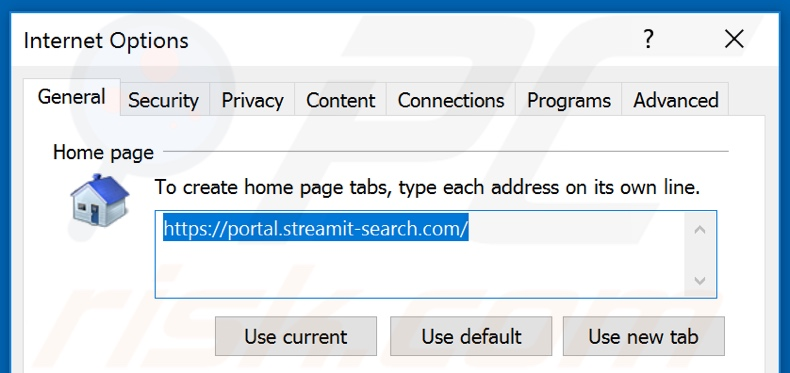 Removing streamit-search.com from Internet Explorer homepage