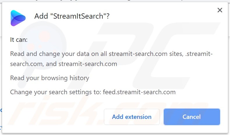 StreamItSearch browser hijacker asking for permissions