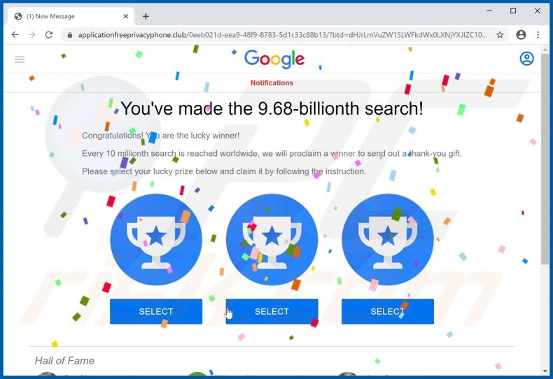 You've made the 9.68-billionth search scam