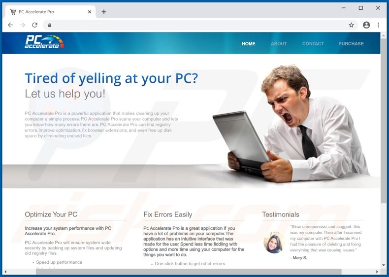 Website used to promote PC Accelerate PUA