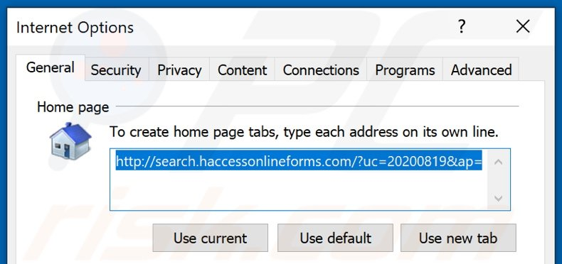 Removing haccessonlineforms.com from Internet Explorer homepage