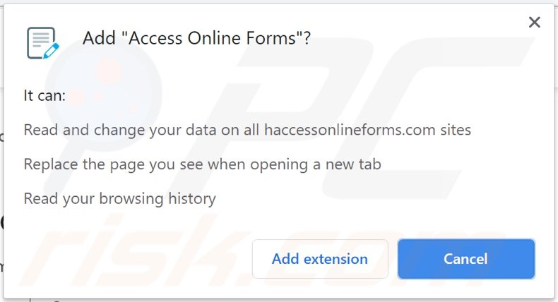 Access Online Forms browser hijacker asking for permissions