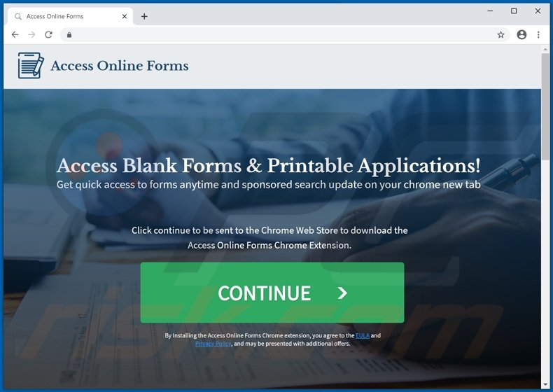 Website used to promote Access Online Forms browser hijacker