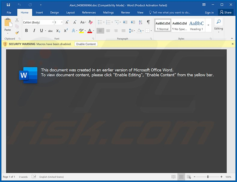 Malicious Word document used to spread Cobalt Strike malware