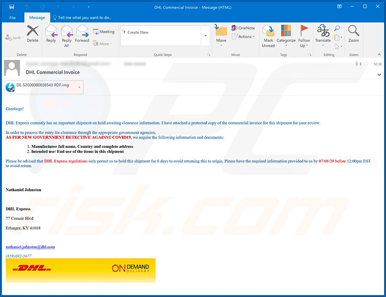 DHL Express-themed spam email used to spread AgentTesla