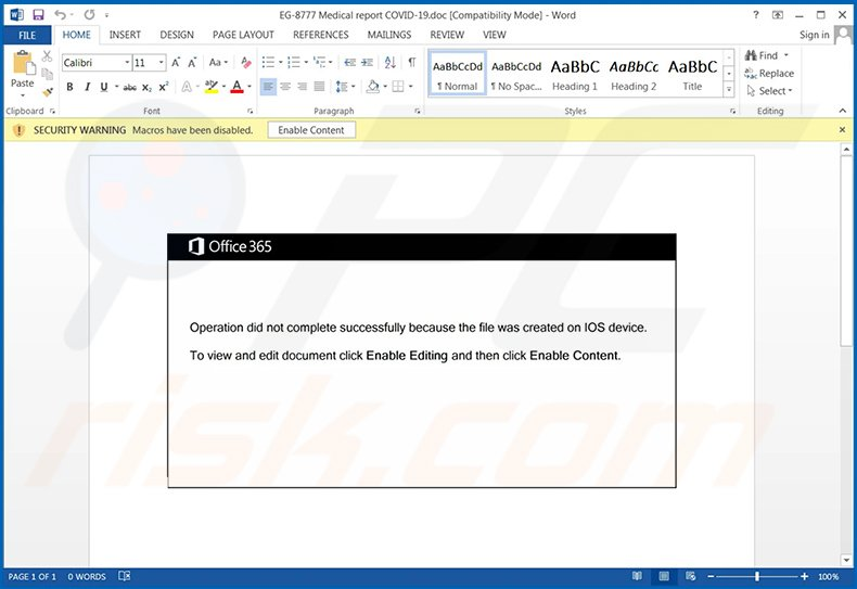 Malicious MS Word document used to inject Emotet trojan into the system