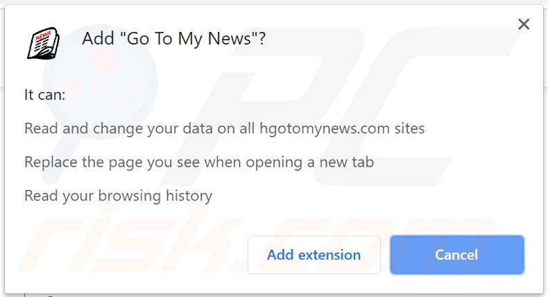 Go To My News browser hijacker asking for permissions