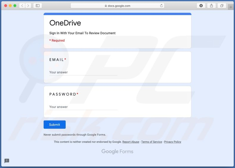 OneDrive email scam fake page stealing account credentials