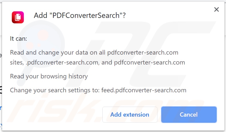 PDFConverterSearch browser hijacker asking for permissions