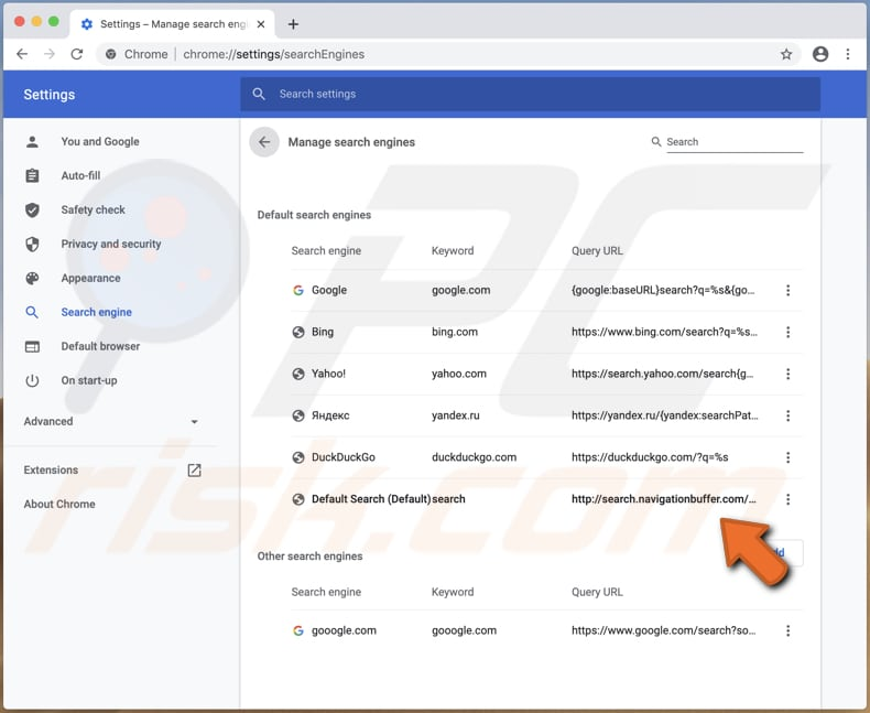 search.navigationbuffer.com in settings of a hijacked browser