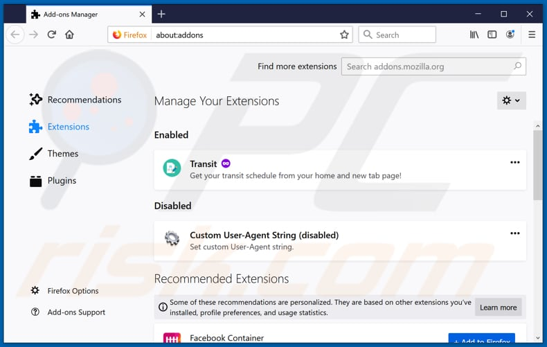 Removing toksearches.xyz related Mozilla Firefox extensions