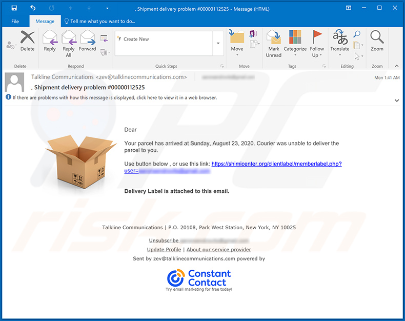 Talkline Communications Email Virus malware-spreading email spam campaign