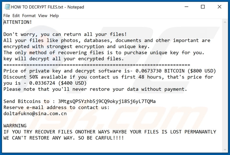 Wannacry (Xorist) ransomware text file (HOW TO DECRYPT FILES.txt)