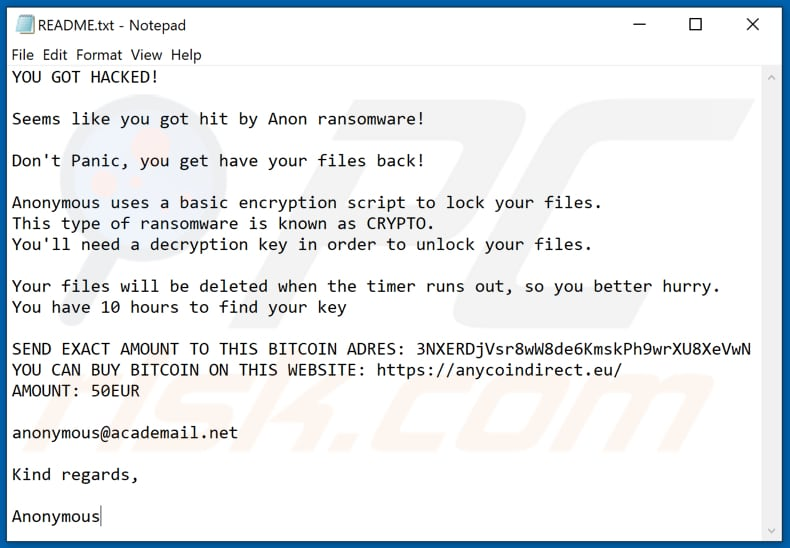 Anon ransomware text file (README.txt)