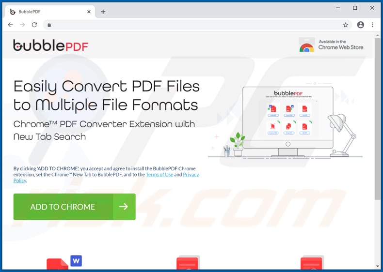 Website used to promote BubblePDF browser hijacker