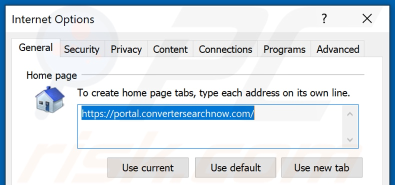 Removing convertersearchnow.com from Internet Explorer homepage