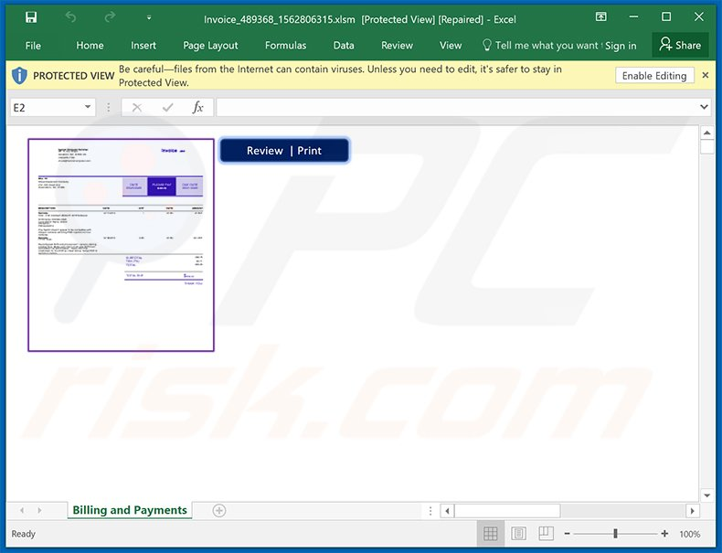 MS Excel document spreading Dridex malware (2020-09-23)