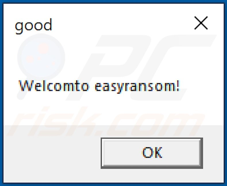 Pop-up displayed after malicious executable (containing EasyRansom ransomware) is opened