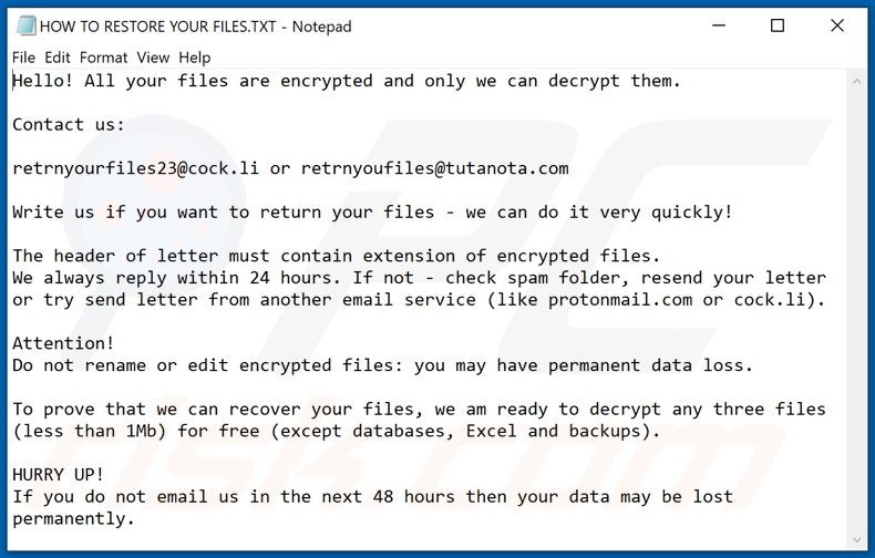 Hhmgzyl decrypt instructions (HOW TO RESTORE YOUR FILES.TXT)