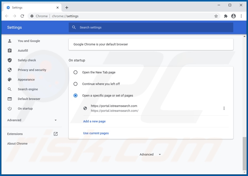 Removing istreamsearch.com from Google Chrome homepage
