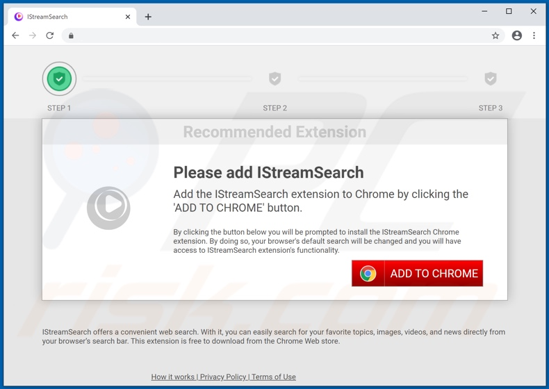 Website used to promote IStreamSearch browser hijacker