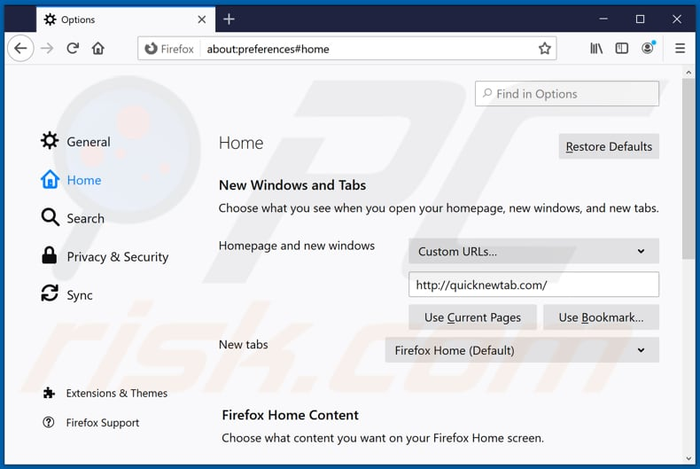 Removing quicknewtab.com from Mozilla Firefox homepage