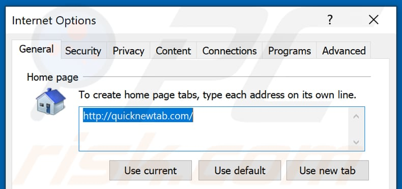 Removing quicknewtab.com from Internet Explorer homepage