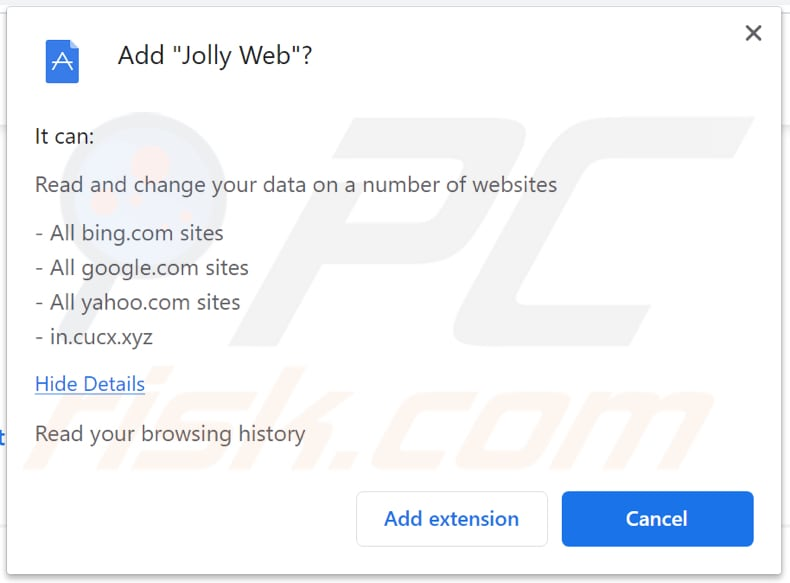 jolly web browser hijacker notification