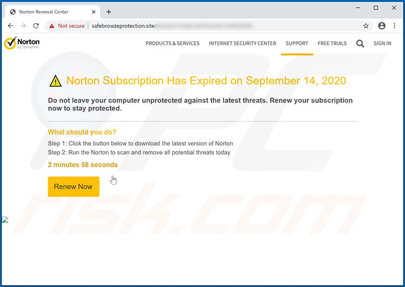 Norton Subscription Has Expired Today scam variant delivered by safebrowzeprotection.site website