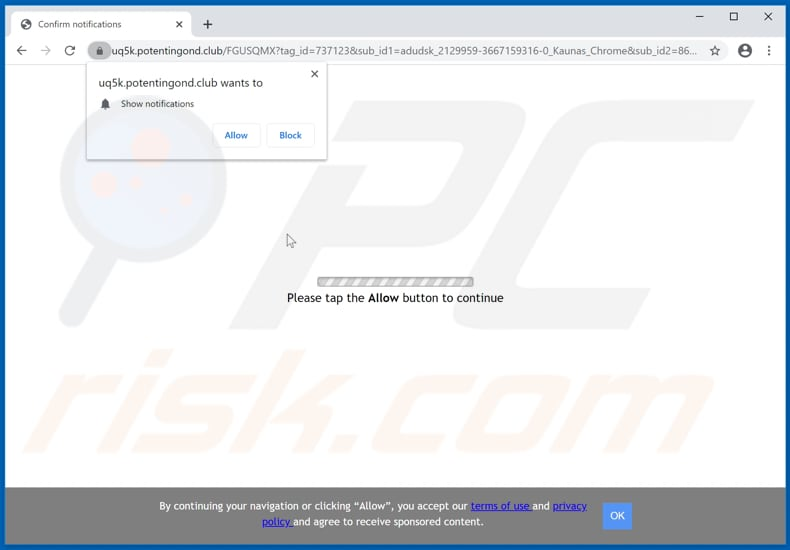 potentingond[.]club pop-up redirects