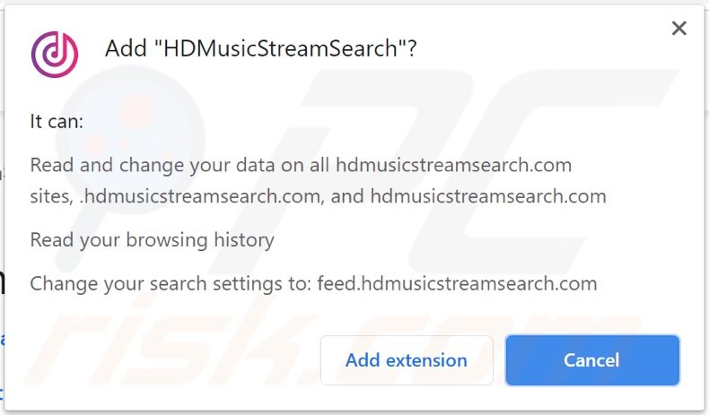 HDMusicStreamSearch browser hijacker asking for permissions