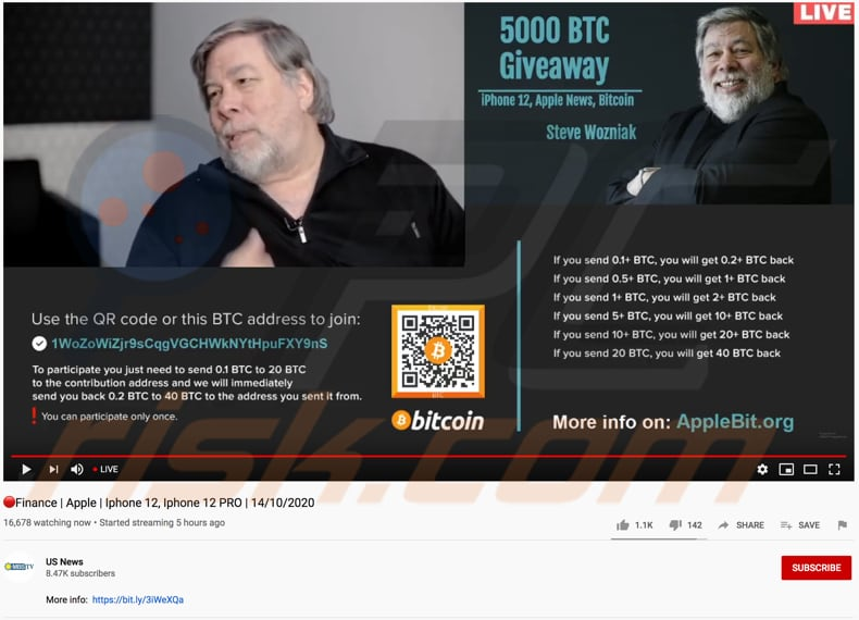 btc giveaway scam promoting youtube video