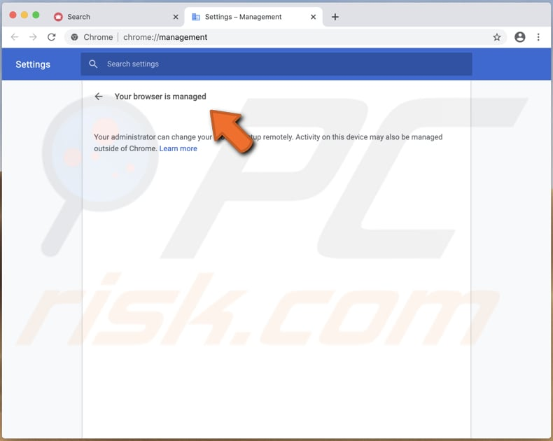cyber search browser hijacker managed by your organization feature added to chrome