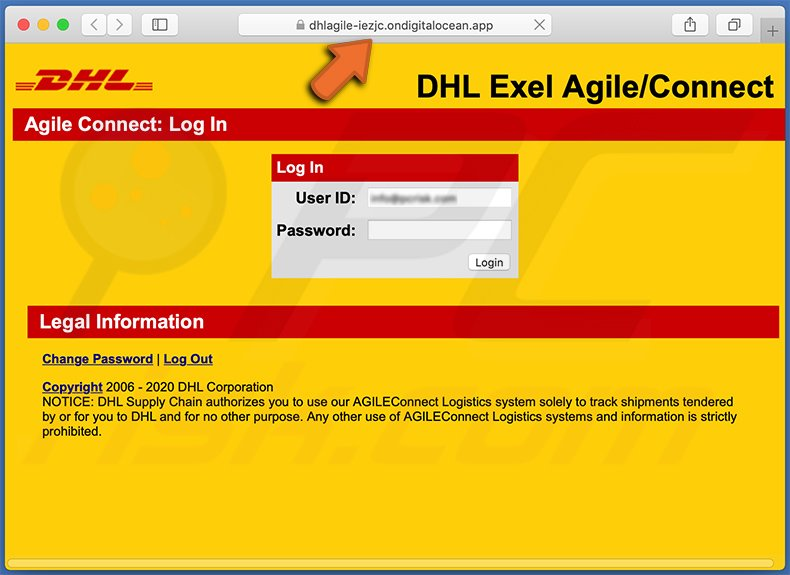 DHL Express-themed phishing website