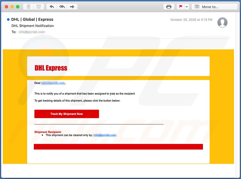 DHL Express-themed spam email used for phishing purposes (2020-10-26)
