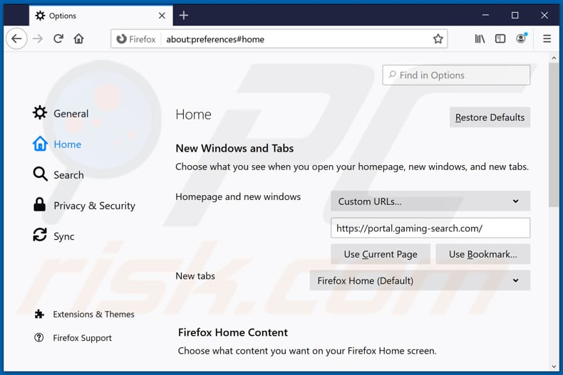 Removing gaming-search.com from Mozilla Firefox homepage
