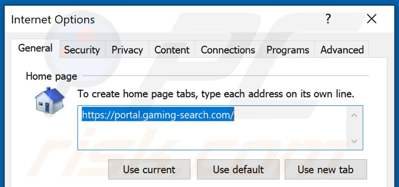 Removing gaming-search.com from Internet Explorer homepage