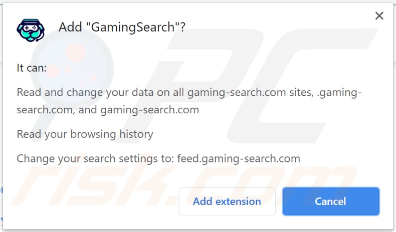 gamingsearch browser hijacker notification