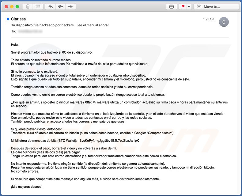 Spanish variant of Hacker Who Has Access To Your Operating System spam email