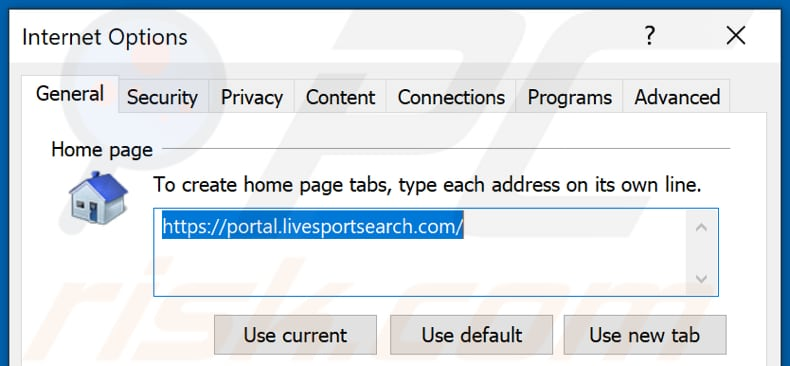 Removing livesportsearch.com from Internet Explorer homepage