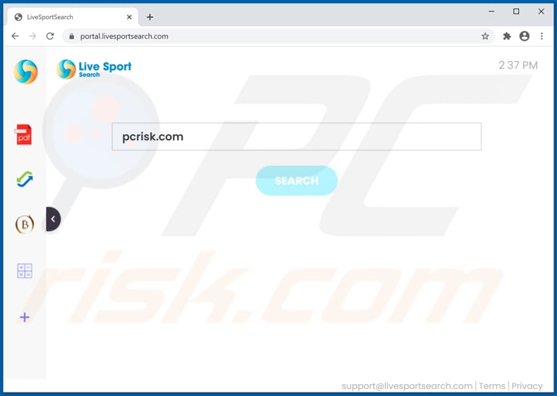 livesportsearch.com browser hijacker