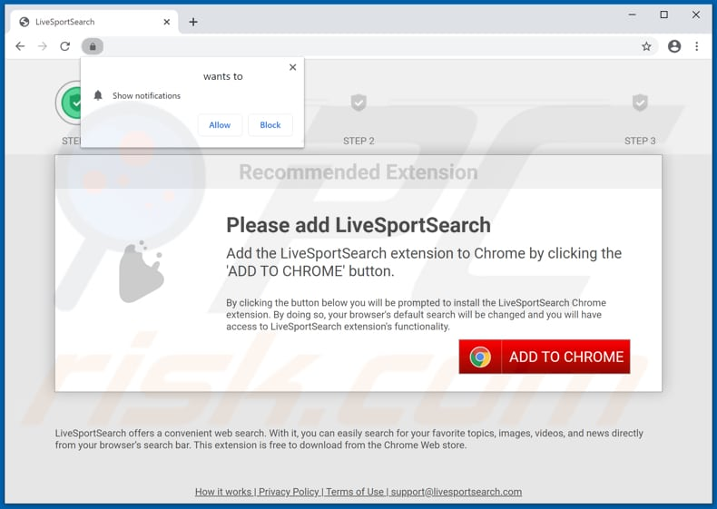 Website used to promote LiveSportSearch browser hijacker